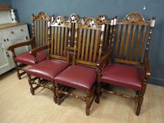 Delightful Set Of Six Brights Of Nettlebed Solid Oak U0026 Leather Dining Chairs Ref39 In  Antiques,