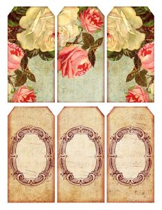 5 Best Images of Free Printable Vintage Paper Label Tags - Free Printable 5 X 7 Vintage Labels, Free Printable Victorian Gift Tags and Alice in Wonderland Printable Tags Vintage Tags, Floral Vintage, Vintage Labels, Vintage Paper, Vintage Prints, Vintage Roses, Shabby Vintage, Vintage Style, Free Printable Tags