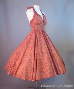 Vintage 70s 50s Style Dress Halter Full Skirt XS - Couture Allure Vintage Clothing