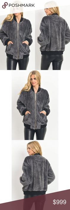 Faux Fur Bomber Jacket New S M L Charcoal Grey Faux Fur Bomber Jacket New S M L Charcoal Gray Fall Winter Holiday  Features:  poly cuddly soft pockets ribbed cuffs, waist, and colar zip front model is 5'8 and wearing small medium weight hand wash, or dry clean for best care  Measurements, laying FLAT (inches):  Bust: 21 Small, 22 Med, 23 Large Length:  23, 24, 25 Sofi + Sebastien Jackets & Coats