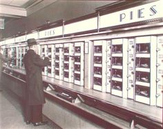 Photograph by Bernice Abbott of an automat on 8th Avenue in NYC from 1936. Take a bite out of history: Recipes from the New York Public Library's automat - TODAY.com