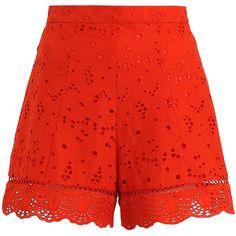 Zimmermann Marisol Eyelet Short (4 295 ZAR) ❤ liked on Polyvore featuring shorts, bottoms, bottoms shorts, cotton shorts, high waisted scalloped shorts, high waisted swimming shorts, zimmermann and highwaist shorts