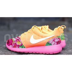 Fun shoes! Nike Roshe Run Atomic Mango Ombre Island Floral by NYCustoms, $185.00