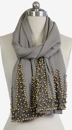 Saachi | Grey Gold Beaded Wrap