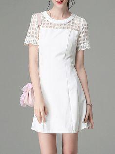 Sweet Short Sleeve Pierced A-line Plain Mini Dress