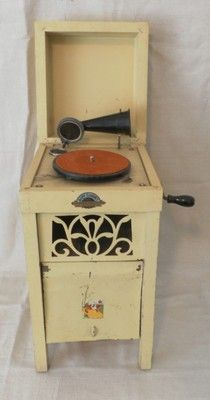 Antique Baby Cabinet Child's Phonograph Wind Up Tin Horn Toy