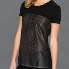 BCBG hudson perforated faux leather top This ultra-modern perforated tee is a sleek and dynamic look with skinny jeans. Round neck. Short sleeves. Perforated faux leather at front and back. Slightly sheer. Solid yoke. Jersey: Micromodal. Knit: Faux Leather. Hand Wash.  From BCBGMAXAZRIA.  Fits a size smaller (M/L).  Photos from BCBG.com BCBG Tops