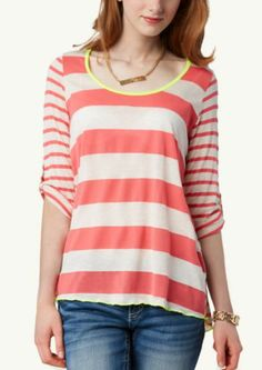 Striped Button Back Top | Tops | rue21
