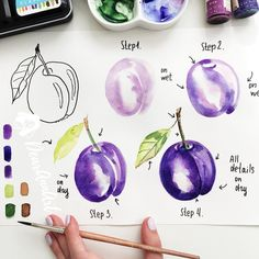 Happy Saturday ☺️💜 Here is a small tutorial. About the recipe illustration video 🤔 I was a quite busy last week but… Watercolor Painting Techniques, Watercolour Tutorials, Watercolor Drawing, Painting & Drawing, Gouache Painting, Watercolor Fruit, Watercolor Flowers, Step By Step Watercolor, Food Illustrations