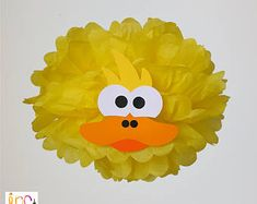 Duck Pompom Baby Shower Decoration/Farm Party supplies/Rubber Ducky 1st Birthday Party/Old McDonald Party/Tissue Paper pom pom