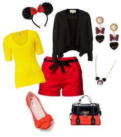 What to wear at Disneyland, Mickey Mouse. Disneyland Fashion. I would wear this outfit with a Black or Red shirt. I do NOT wear anything that's yellow!!! I hate the color yellow with a passion.