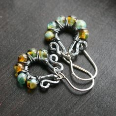 Handmade+green+and+brown+wire+wrapped+by+MimiMicheleJewelry,+$32.50