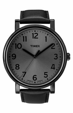 Timex® 'Easy Reader' Leather Strap Watch, 42mm available at #Nordstrom