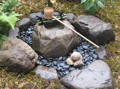 Tsukubai (water basin) in Japanese garden.