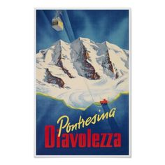 Diavolezza in Pontresina, die Schweiz; Vintager Poster