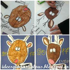 Ιδέες για δασκάλους:Καθοδηγούμενη ζωγραφική: Κάρτα Ρούντολφ Gingerbread Cookies, Christmas Crafts, Kids Rugs, Home Decor, Owls, Gingerbread Cupcakes, Decoration Home, Kid Friendly Rugs, Room Decor