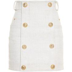 Balmain Button-front mini skirt found on Polyvore featuring skirts, mini skirts, bottoms, saias, balmain, light beige, military skirt, linen skirt, short skirts and beige skirt