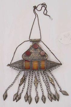 Necklace Date: 19th century Culture: Moroccan Medium: metal, carnelian, amber