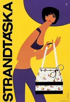 Strandtáska purses vintage ad by Szilas Gyözö, c 1966 Beauty Illustration, Graphic Illustration, Graphic Art, Graphic Design, Vintage Advertisements, Vintage Ads, Vintage Posters, Retro Ads, Vintage Signs