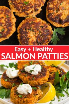 The BEST Salmon Patty recipe This easy recipe uses canned salmon with bright lemon juice Greek yogurt bread crumbs and southern spices so they taste flavorful and fresh Healthy budget friendly and great for meal prep too wellplated mealprep via wellplated Canned Salmon Patties, Canned Salmon Recipes, Salmon Patties Recipe, Healthy Salmon Recipes, Seafood Recipes, Dinner Recipes, Salmon Burger Recipes, Salmon Patties Baked, Healthy Salmon Patties