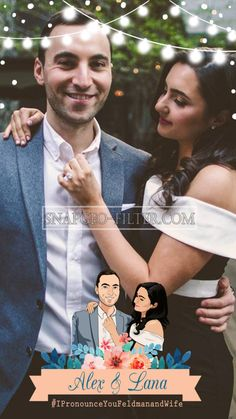 Lights in Top and The Cartoon of the Bride and Groom making a Beautifull design for #Wedding Snapchat filter