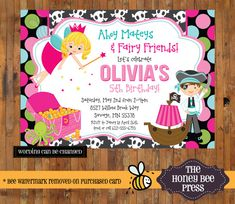 Pirate Fairy Birthday invitation  Pirates and by TheHoneyBeePress