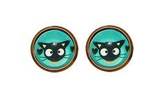 Cute Black Cat Earrings, Mint Green Earrings, BLack Kitten Feline Stud Earrings, Cats Face Accessories, Cat Lover, Little Cat Glass Earring