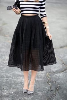 20 Looks with Pretty Midi Skirts Glamsugar.com Like the skirt