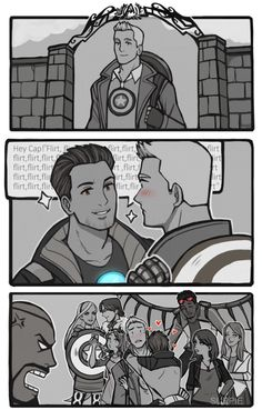 Still waiting for the dating update in Avengers Academy, so I drew this silly comic. I will happily pay for same sex dating, especially Steve/Tony dates! >//<