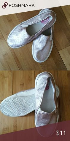 LAST CHANCE 🚨Girls slip on sneakers sz 2 EUC Girls rose gold sneakers from children's place. Sz 2. My daughter wore these twice and a few times around the house. Very comfy and run large.  Bottoms are white so a little grey from use but in EUC.  Smoke free, pet free home. Children's Place Shoes Sneakers