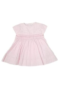 Charming and refined little pastel pink seersucker frock featuring cap sleeves and delicate hand-smocked bodice. Classic little dress for Spring! Made of cotton. Nautical Summer Dresses, Pastel Shades, Ethical Clothing, Spring Summer 2018, Smocking, Floral Prints, Color, Clothes, Collection
