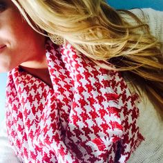 Chunky Woven Houndstooth Infinity Scarf by ShopNatalieMay on Etsy
