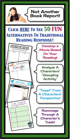 Gone are the days of boring book reports and reading responses! This multi-faceted resource provides fun ready-to-use assignments that will work for any novel or short story that your students are reading. Each of the one page assignments can be printed and handed to your students – it's that easy! $