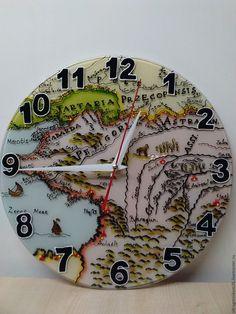 Купить Часы настенные Карта Царской России 2 - комбинированный, часы настенные, часы интерьерные
