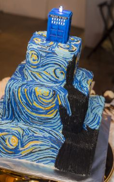 Doctor Who Wedding. Our wedding cake for our civil ceremony! Doctor Who + Van Gogh = Perfection!