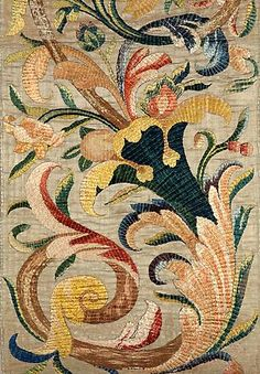 A set of Four Silk Embroidered 'Panes' (detail) ~ Italian ~ circa 1700
