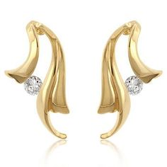 18k Gold Plated Winged Earrings with Tension Set Round Cut Clear Cubic Zirconia Polished into a Lustrous Goldtone Finish