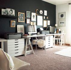 ACHADOS DE DECORAÇÃO - blog de decoração: UM HOME OFFICE COM PAREDE PRETA: ACHO QUE VOU ME ARRISCAR