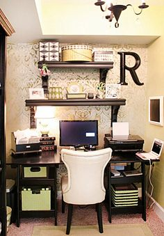 You won't mind getting work done with a home office like one of these. See these 20 inspiring photos for the best decorating and office design ideas for your home office, office furniture, home office ideas Small Space Office, Home Office Space, Home Office Design, Home Design, Small Spaces, Office Designs, Office Spaces, Desk Space, Work Spaces
