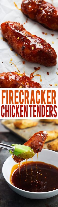Firecracker Chicken Tenders - baked, not fried, and tossed in a sweet and spicy sauce! | Creme de la Crumb