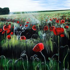 Poppy Print. A block canvas print of an original painting of a field with poppies and light streaming into it.