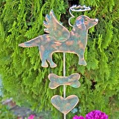 Labrador retriever pet memorial metal copper patina finished garden stake designed for planters and memory gardens. Click on photo to see listing details. Thank you for visiting!