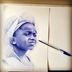 He begins with an outline of his subject, adding cross-hatching for shading. Then uses methods such as pointillism to add certain details.