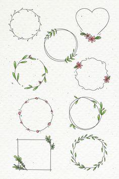 Doodle floral wreath set on beige background illus Bullet Journal Banner, Bullet Journal Notebook, Bullet Journal Ideas Pages, Bullet Journal Inspiration, Doodle Inspiration, Doodle Drawings, Easy Drawings, Doodle Doodle, Floral Doodle