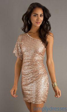 Short One Shoulder Dress, Short Sequin Dresses - Simply Dresses