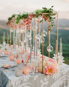 If you find yourself daily dreaming of rom-coms in Italy, then this lavish peach wedding inspiration in the heart of Siena just might stop you in your tracks. With a Tuscan hill view and floating candles along the tablescape, this European vineyard fete i Tall Wedding Centerpieces, Floral Centerpieces, Flower Arrangements, Centerpiece Ideas, Wedding Arrangements, Wedding Tables, Centrepieces, Coral Wedding Decorations, Floating Candles Wedding