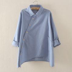 Düğme Aşağı Gömlek - 1K2. Pamuk keten kadın gömlek, beyaz, mavi, mor - DaWanda…