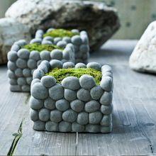 AIBEI-Creative breathable Stone Flower Pot Micro landscape Square Rectangle Succulents Hydroponics cement Small Garden Pots(China (Mainland))