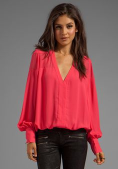 ELIZABETH AND JAMES Reese Blouse in Lipstick at Revolve Clothing
