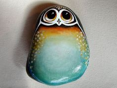 The Great Owl - Painted on Stone Pinned by www.myowlbarn.com paintings on stone, painted stones, owl rock, owls painted, paint stone, owl paint